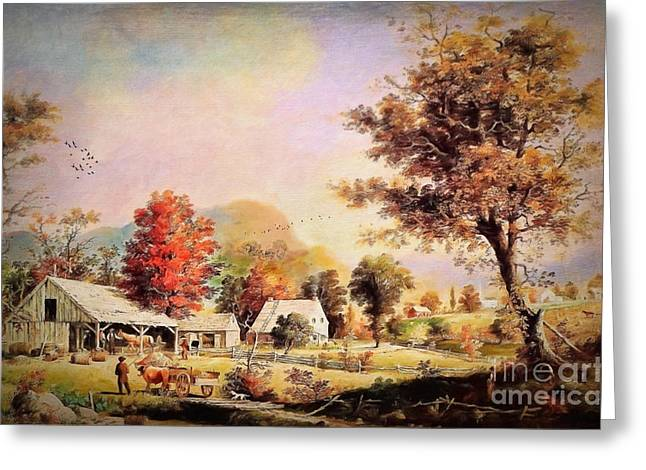 The Cider Press - After Durrie Greeting Card by Lianne Schneider