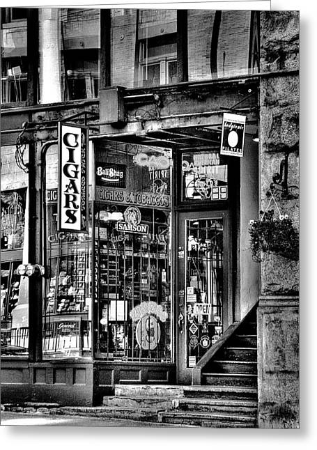 Lack And White Greeting Cards - The Cigar Store Greeting Card by David Patterson