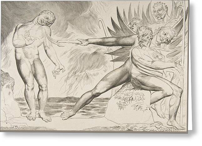 The Circle Of Corrupt Officials, The Devils Tormenting Ciampolo Greeting Card by William Blake