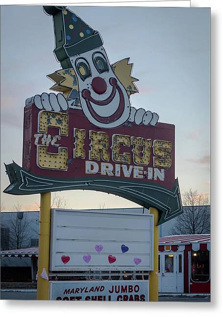 Greeting Card featuring the photograph The Circus Drive In Sign Wall Township Nj by Terry DeLuco