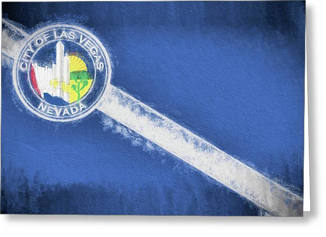 Greeting Card featuring the digital art The City Flag Of Las Vegas by JC Findley