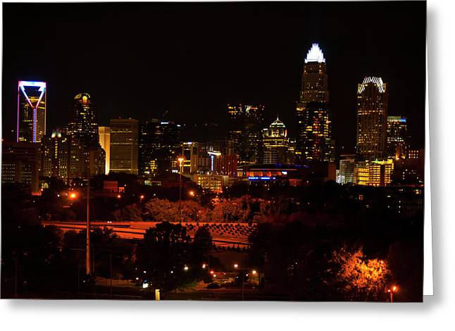 Greeting Card featuring the digital art The City Of Charlotte Nc At Night by Chris Flees