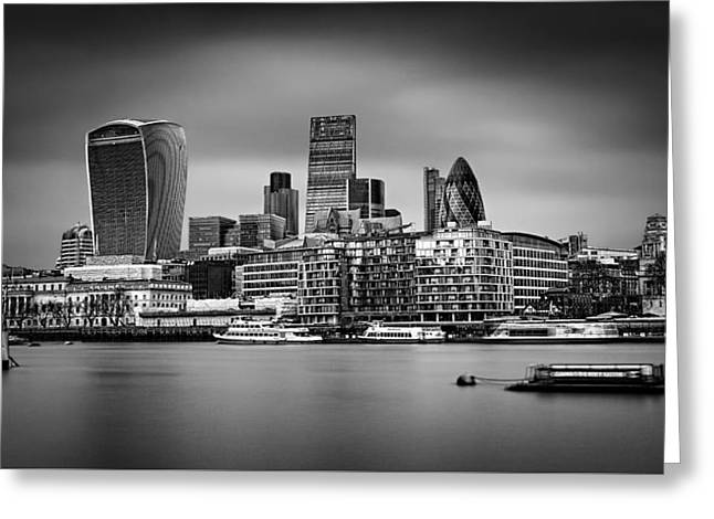 The City Of London Mono Greeting Card