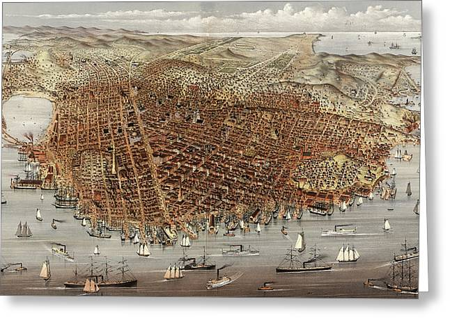 The City Of San Francisco  Birds Eye View From The Bay Greeting Card by Currier and Ives