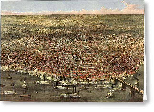 The City Of St. Louis, Circa 1874 Greeting Card by Currier and Ives