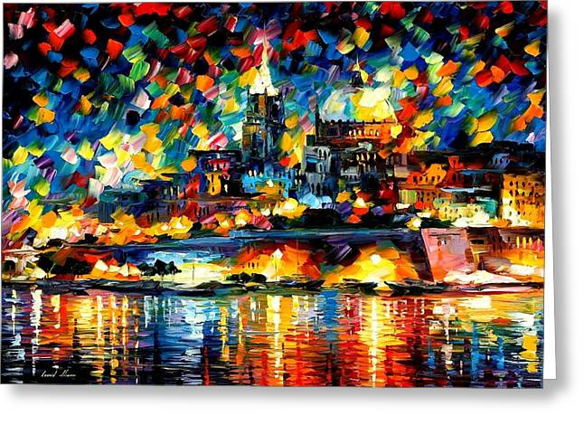 The City Of Valetta - Malta Greeting Card by Leonid Afremov