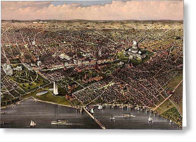 The City Of Washington Birds Eye View From The Potomac, Looking North, Circa 1880 Greeting Card
