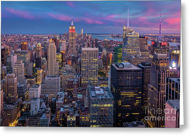 The City That Never Sleeps Greeting Card by Inge Johnsson