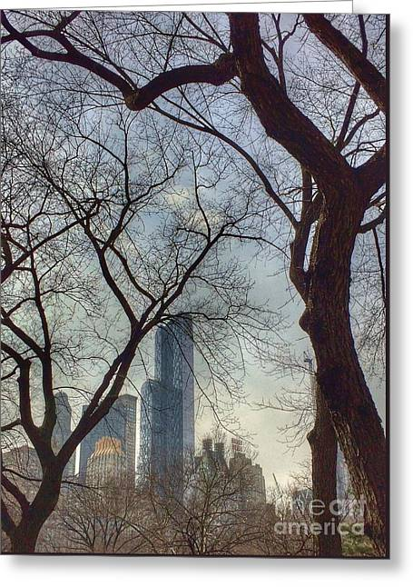 The City Through The Trees Greeting Card
