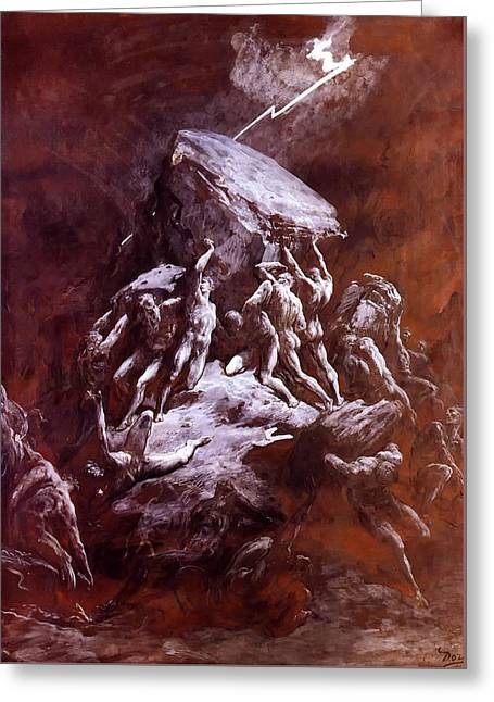 The Clash Of The Titans Greeting Card by Gustave Dore