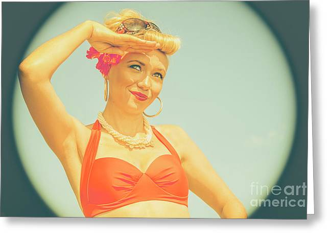 The Classic Bathing Suit Pinup Greeting Card by Jorgo Photography - Wall Art Gallery