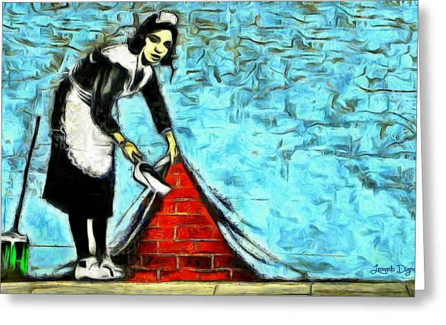 The Cleaner And The Wall - Pa Greeting Card by Leonardo Digenio
