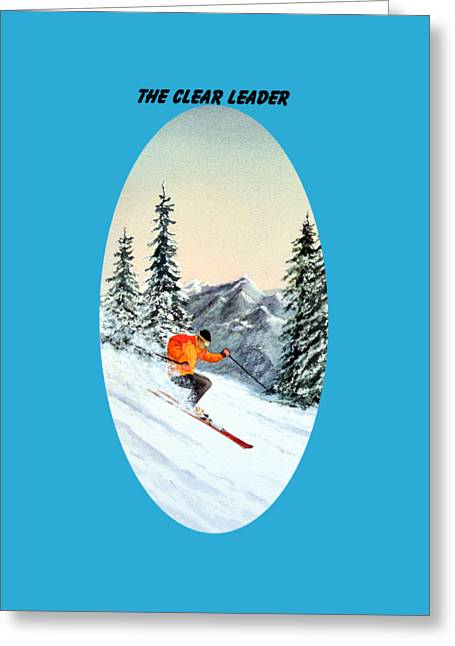 The Clear Leader Skiing Greeting Card by Bill Holkham