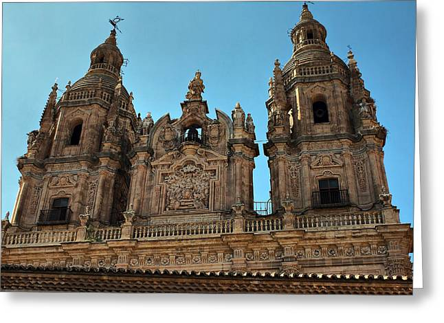 Greeting Card featuring the photograph The Clerecia Church In Salamanca by Farol Tomson