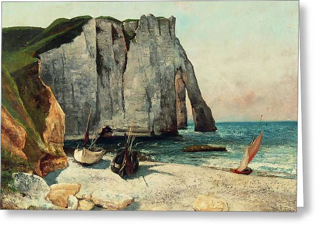 The Cliffs Of Etretat, The Port Of Avale, 1869 Greeting Card by Gustave Courbet