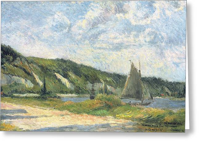 The Cliffs Of La Bouille Greeting Card by Paul Gauguin