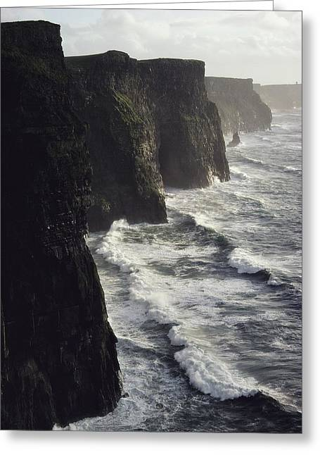 Cliffs Of Moher Greeting Cards - The Cliffs Of Moher Rise Seven-hundred Greeting Card by Cotton Coulson
