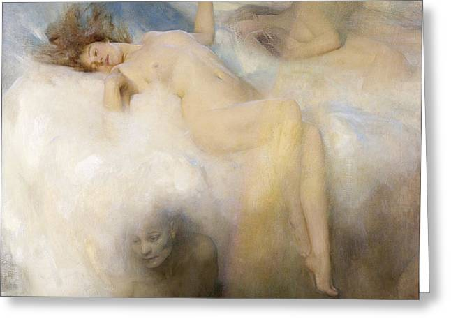 The Cloud Greeting Card by Arthur Hacker