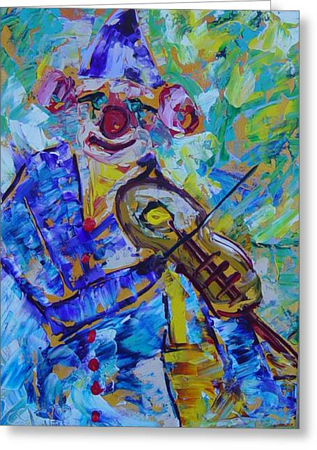 The Clown Playing Violin Greeting Card