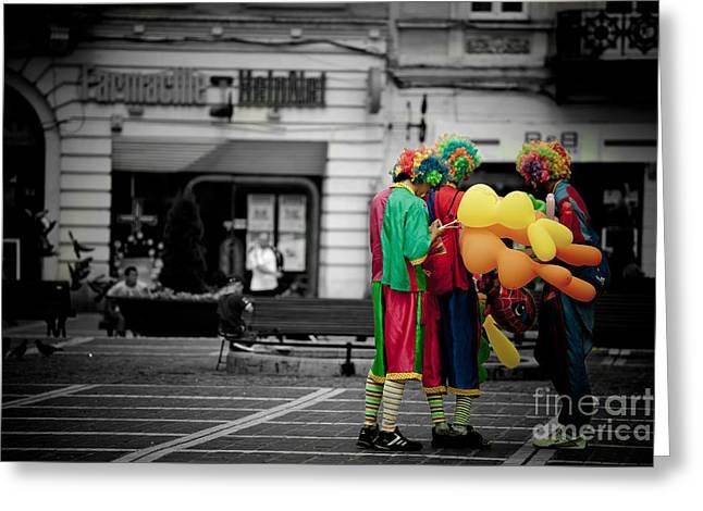 The Clown's Conspiracy Greeting Card by Gabriela Insuratelu