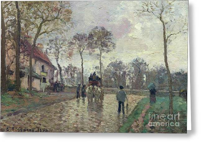 Coach Greeting Cards - The Coach to Louveciennes Greeting Card by Camille Pissarro