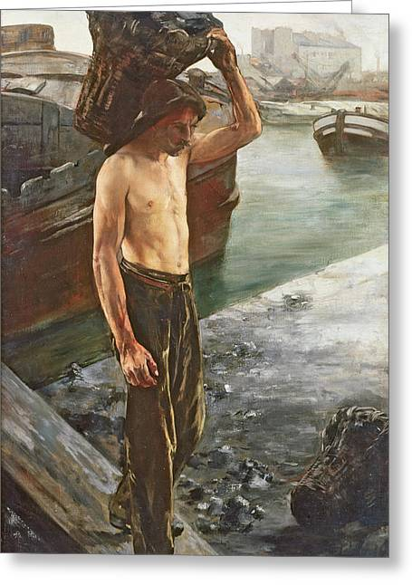 The Coal Carrier Greeting Card by Henri Gervex