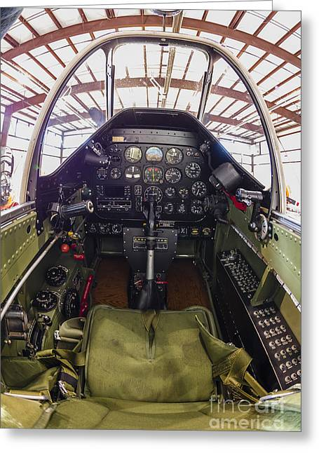 The Cockpit Of A P-51 Mustang Greeting Card by Rob Edgcumbe