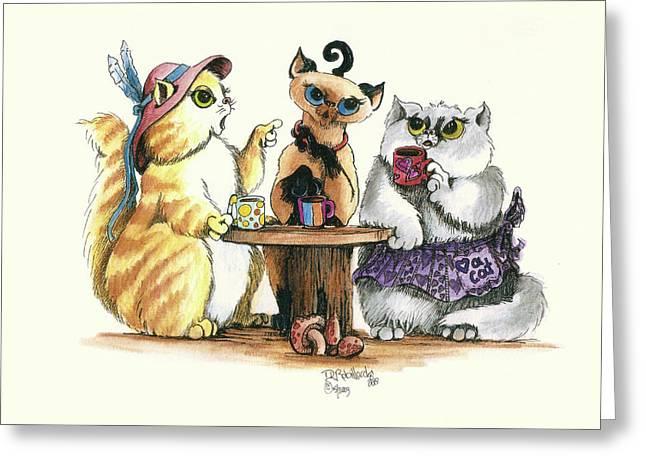 The Coffee Clutch Greeting Card by Dianne Robillard