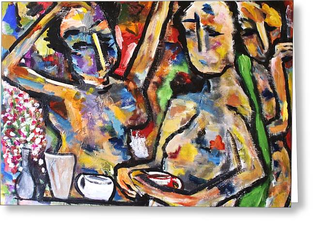 The Coffee Shop Greeting Card by Chaline Ouellet