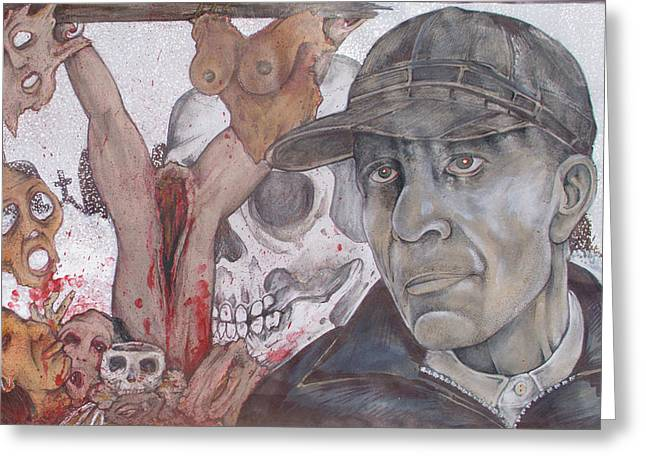 The Cold World Of Ed Gein Greeting Card by Sam Hane