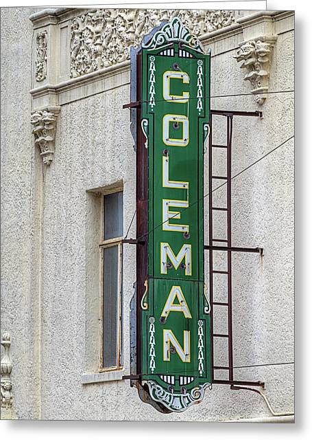 The Coleman Theater Greeting Card by JC Findley