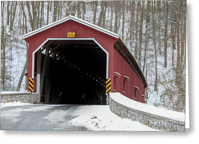 The Colemansville Covered Bridge In Winter Greeting Card