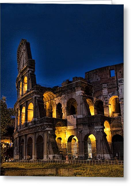 Historic Sites Greeting Cards - The Coleseum in Rome at night Greeting Card by David Smith