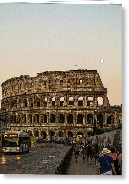 The Coliseum And The Full Moon Greeting Card