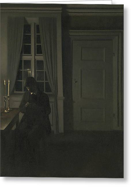 The Collector Of Coins Greeting Card by Vilhelm Hammershoi