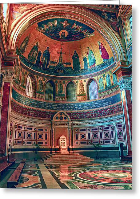 The Colorful Interior Of Roman Catholic Cathedral Greeting Card