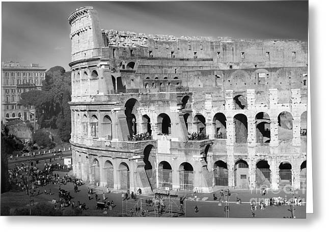 The Colosseum Black And White By Stefano Senise Greeting Card
