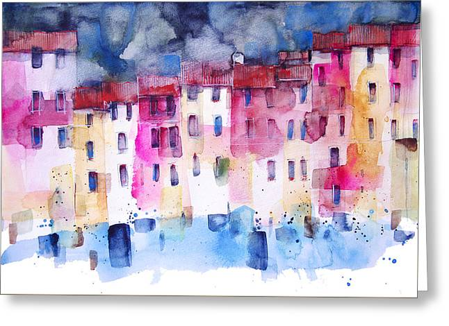 The Coloured Houses Of Portofino Greeting Card by Alessandro Andreuccetti