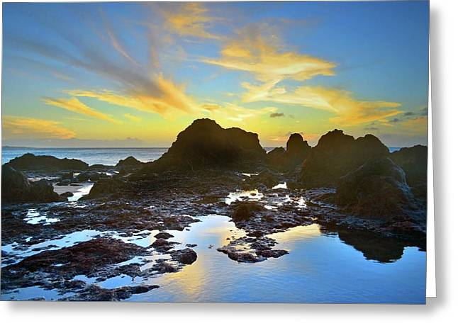 Greeting Card featuring the photograph The Colours Amongst Sea, Sky And Stone by Tara Turner