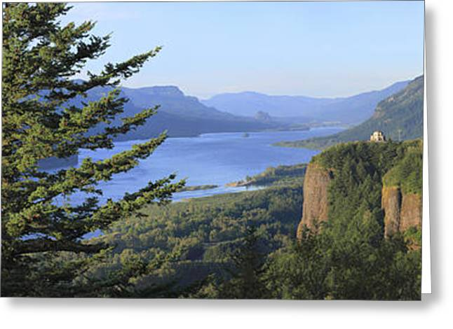 The Columbia River Gorge Vista House Panorama. Greeting Card by Gino Rigucci