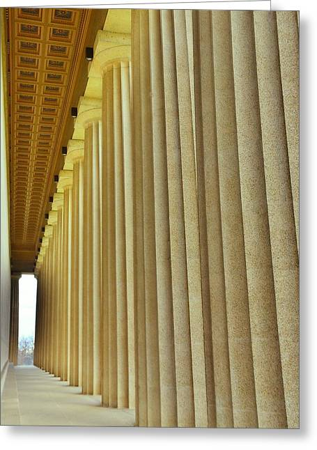 Greeting Card featuring the photograph The Columns At The Parthenon In Nashville Tennessee by Lisa Wooten