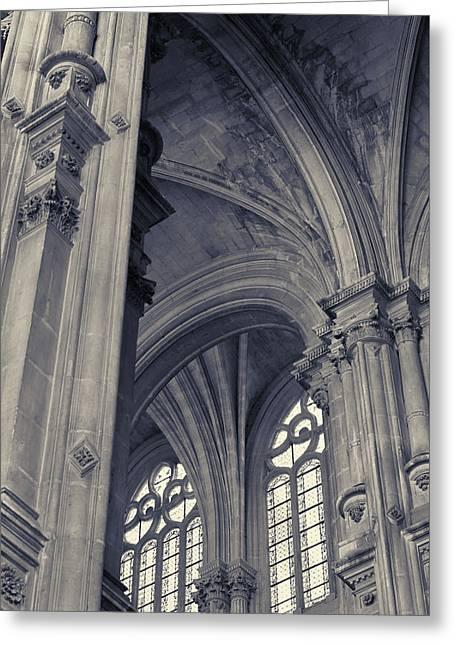 Greeting Card featuring the photograph The Columns Of Saint-eustache, Paris, France. by Richard Goodrich