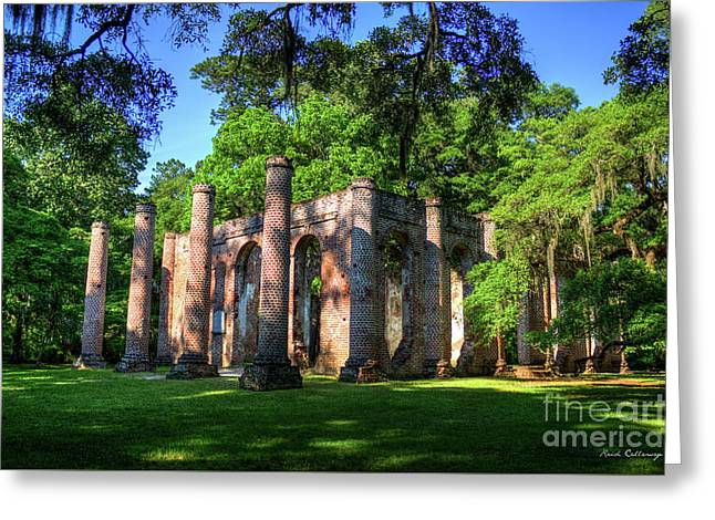 The Columns Old Sheldon Church Ruins Greeting Card