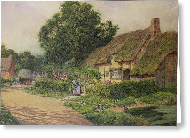 Oak Tree Paintings Greeting Cards - The Coming of the Haycart  Greeting Card by Arthur Claude Strachan
