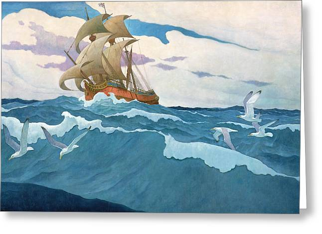 The Coming Of The Mayflower  Greeting Card by Newell Convers Wyeth