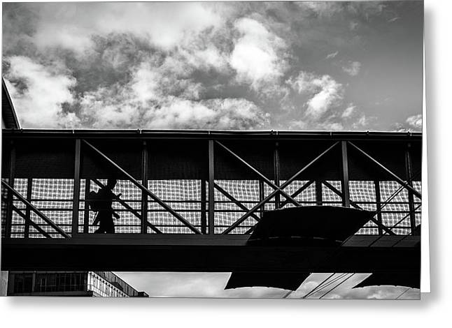 The Commuter - Dublin, Ireland - Black And White Street Photography Greeting Card
