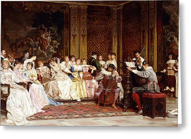 Playing Musical Instruments Greeting Cards - The Concert Greeting Card by Joseph Frederic Charles Soulacroix
