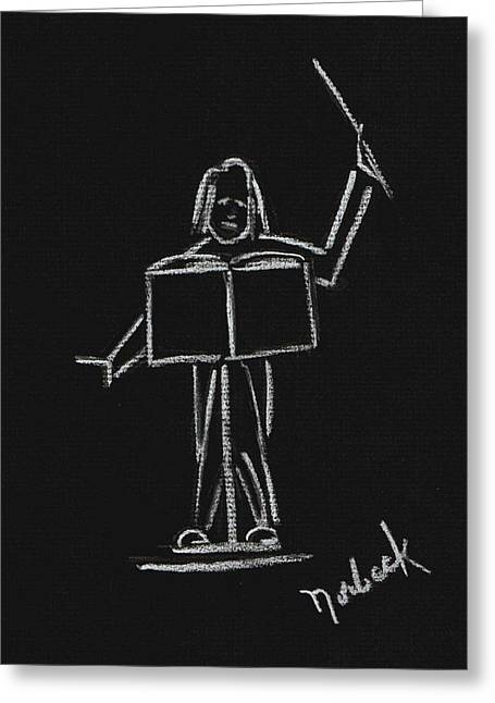 Thomas Pastels Greeting Cards - The Conductor Greeting Card by Thomas J Norbeck