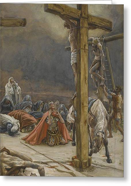 Knelt Paintings Greeting Cards - The Confession of Saint Longinus Greeting Card by Tissot