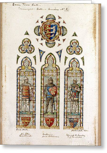 the connaught hall Edward Astley window  Greeting Card by Celestial Images